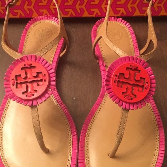 70574b762f8a9 ... 30mm sandal spark gold cmdhtnes 0d638 fe587 australia nib tory burch  miller fringe flat sandal sz 7 79b66 e1261 ...